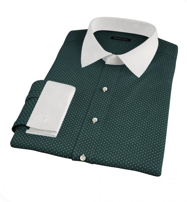 White on Green Printed Pindot Dress Shirt