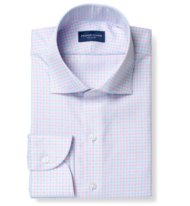 Mayfair Wrinkle-Resistant Sky and Pink Multi Check