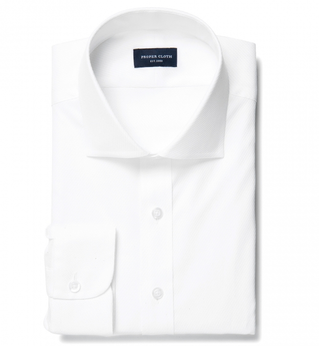 White Diagonal Jacquard Tailor Made Shirt