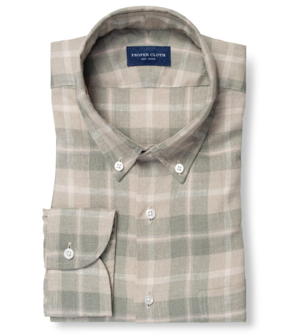 Portuguese Washed Beige and Fatigue Multi Plaid Linen