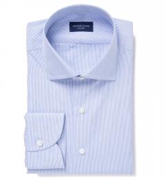 Thomas Mason Blue End-on-End Stripe Fitted Shirt