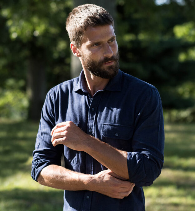 Canclini Navy Twill Beacon Flannel
