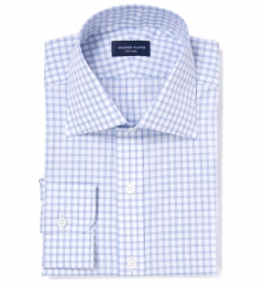 Thomas Mason Light Blue Border Grid Fitted Dress Shirt