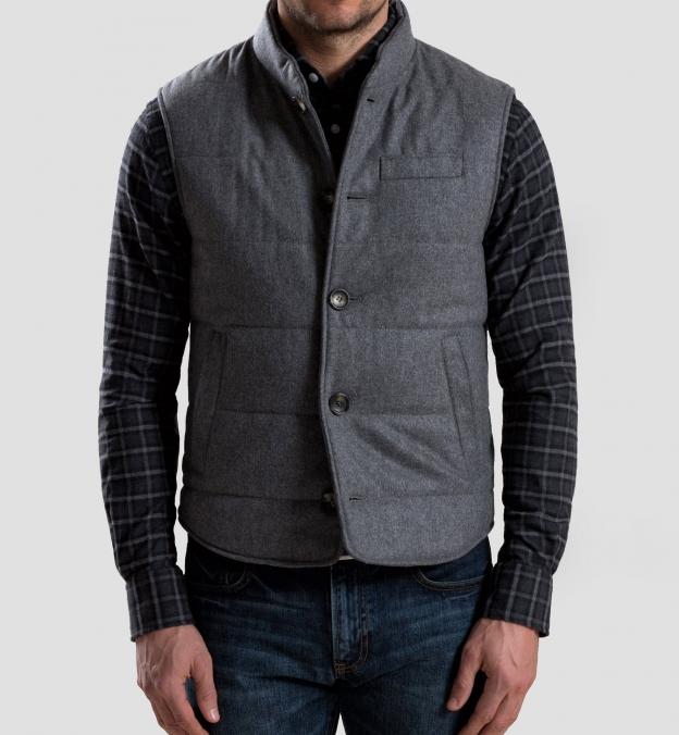 Albiate Grey Melange Plaid Flannel