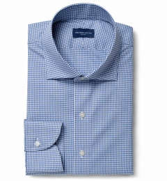 Thomas Mason Non-Iron Navy Gingham Fitted Shirt