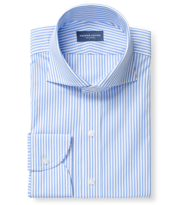140s Light Blue Wrinkle-Resistant Bengal Stripe