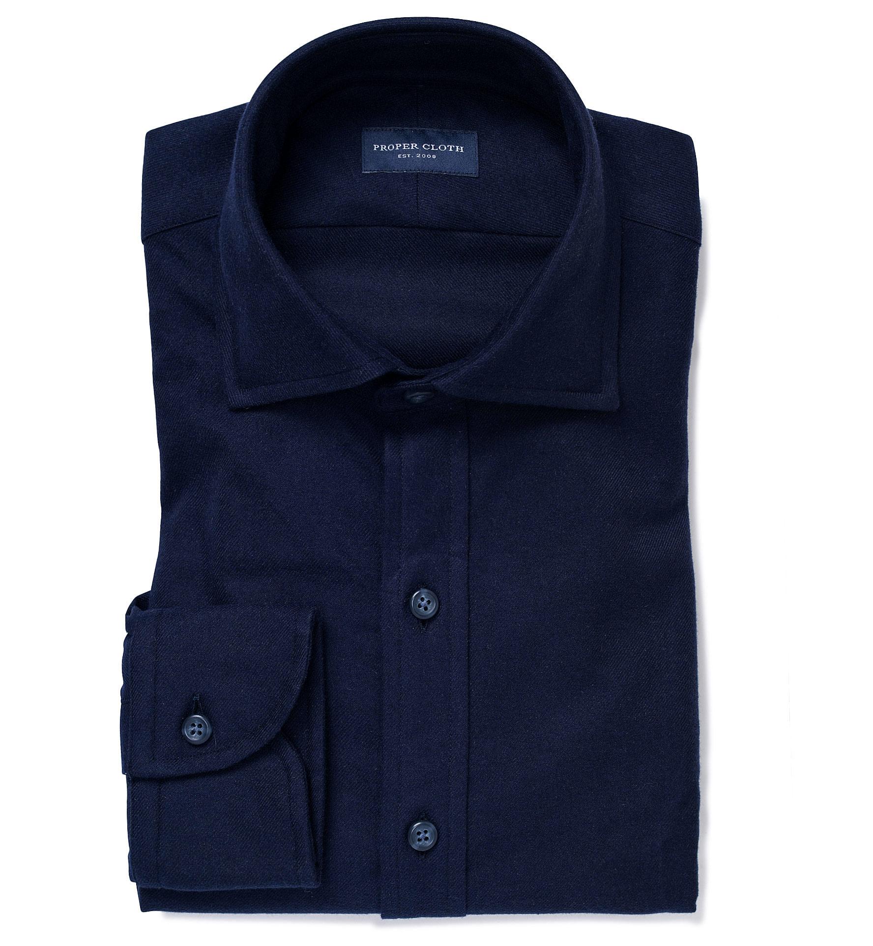 Teton Midnight Blue Flannel Dress Shirt By Proper Cloth