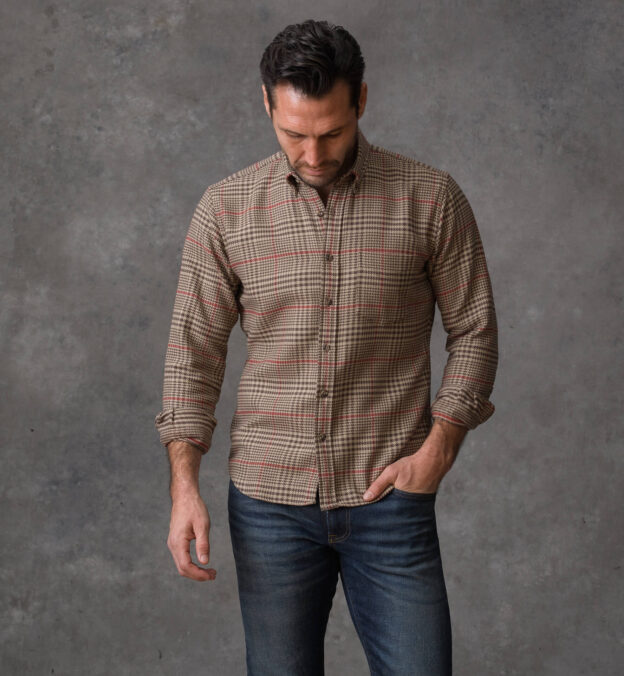 Japanese Brown and Red Brushed Back Plaid