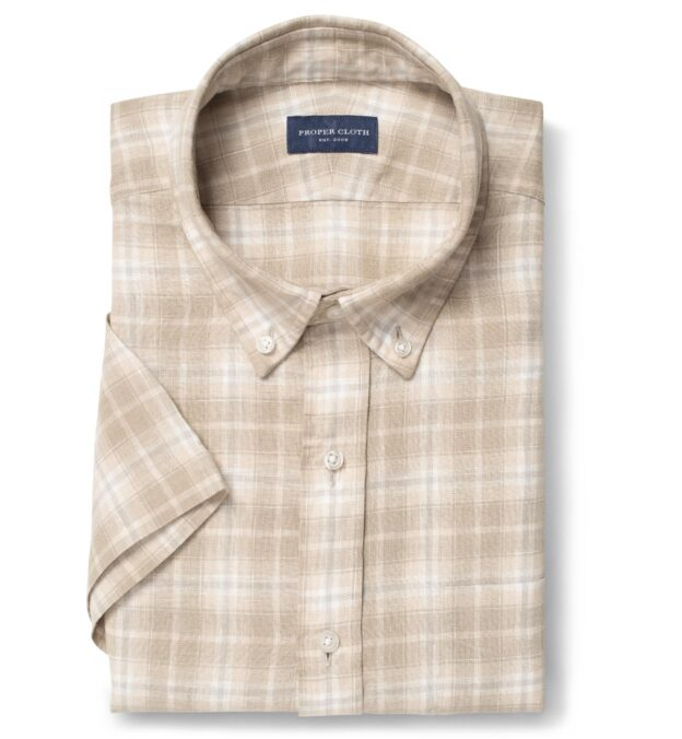 Portuguese Washed Beige and Brown Plaid Linen