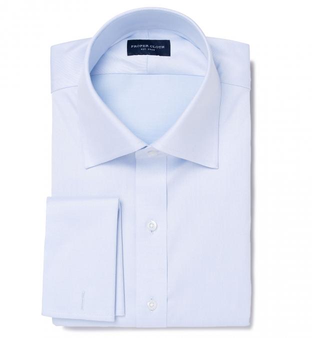 Lafayette Light Blue Twill Fitted Dress Shirt