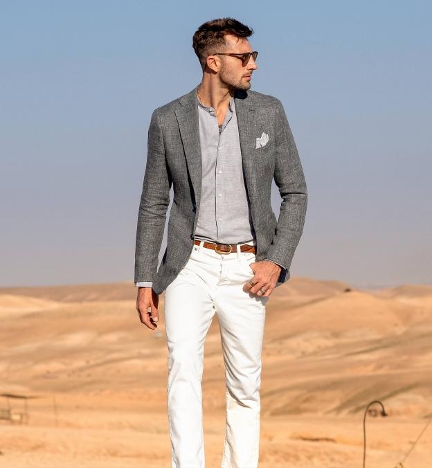 Grey Melange Cotton Linen Blend