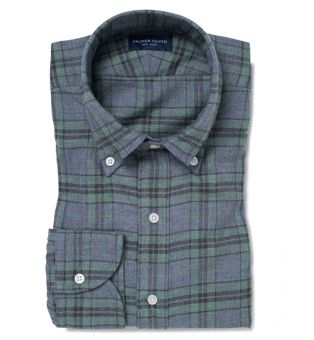 5ad1caa1a2a Satoyama Sage and Slate Plaid Flannel Fitted Shirt by Proper Cloth