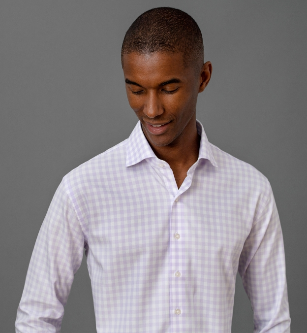 Non-Iron Supima Large Lavender Gingham