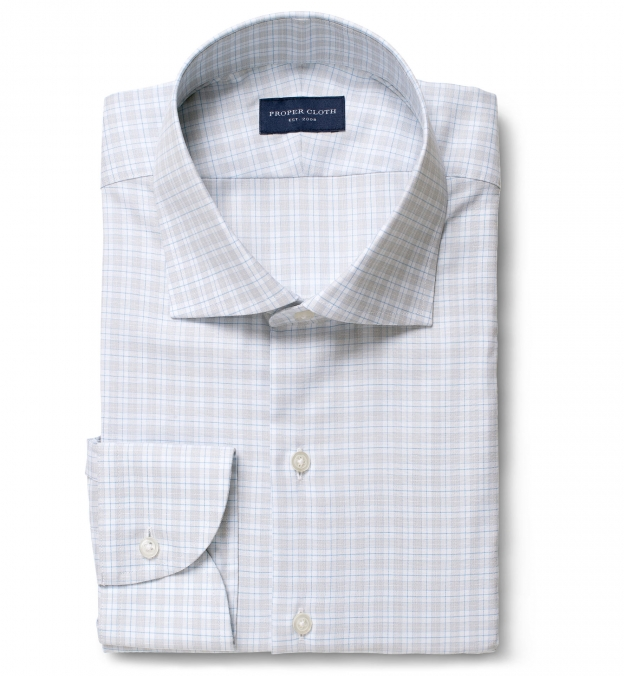 Carmine 120s Grey and Blue Small Check