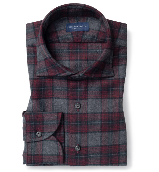 Canclini Grey and Scarlet Ombre Plaid Beacon Flannel