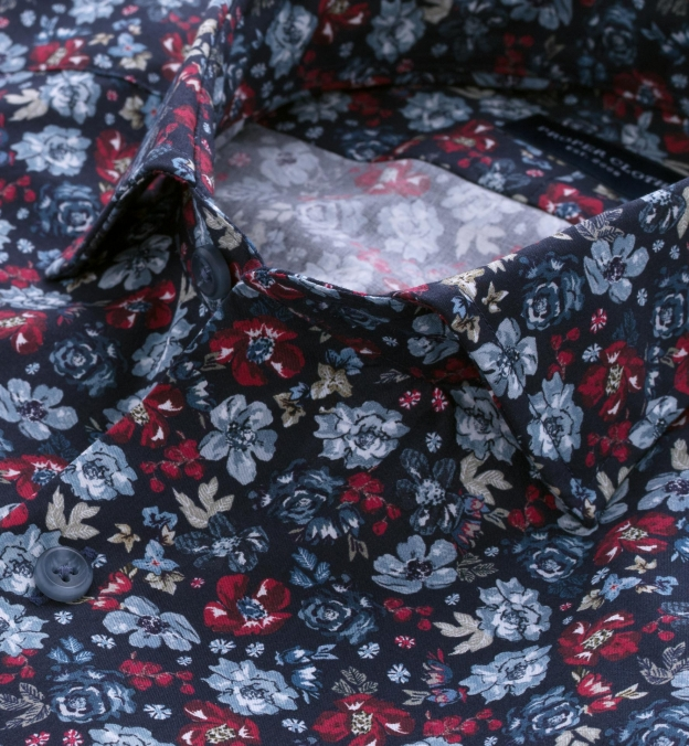 Albini Navy Red and Light Blue Floral Print