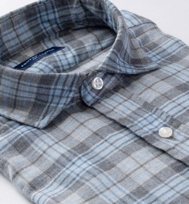Satoyama Light Blue and Grey Plaid Flannel