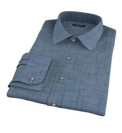 Blue Heavyweight Denim Fitted Dress Shirt