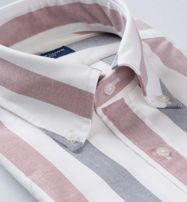 American Pima Navy and Red Melange Wide Stripe Oxford