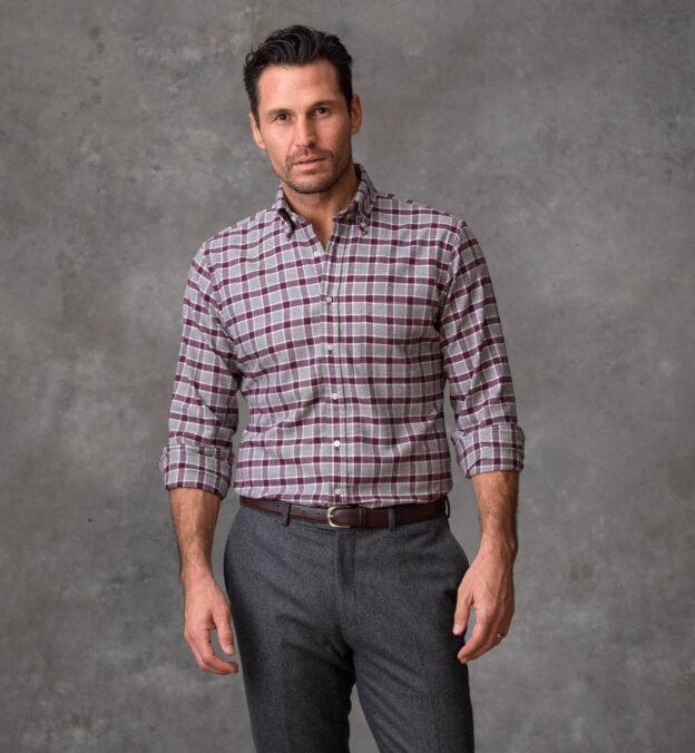 Crimson and Grey Melange Check Flannel
