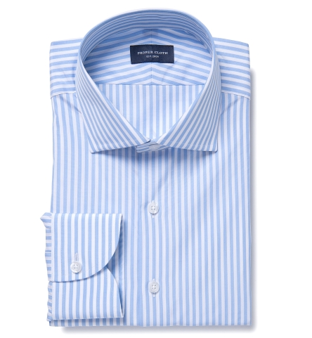 476461a27a5e13 Thomas Mason Light Blue End-on-End Bengal Stripe Dress Shirt by ...