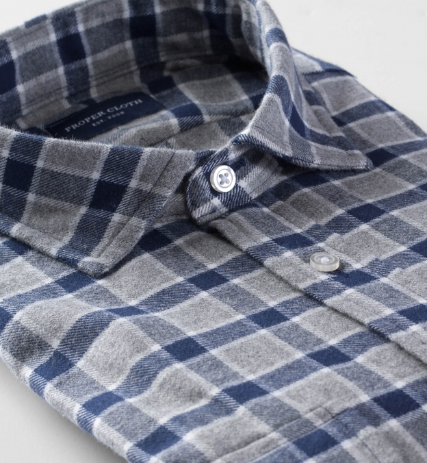 Navy and Grey Check Flannel