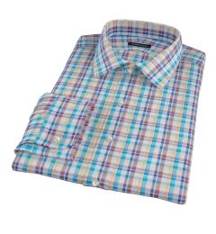 Aqua Brown Summer Plaid Men's Dress Shirt