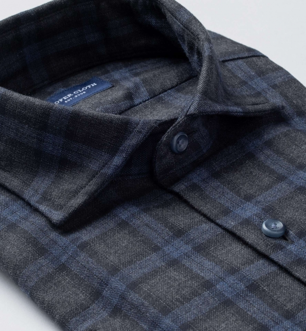 Stowe Charcoal and Navy Plaid Flannel