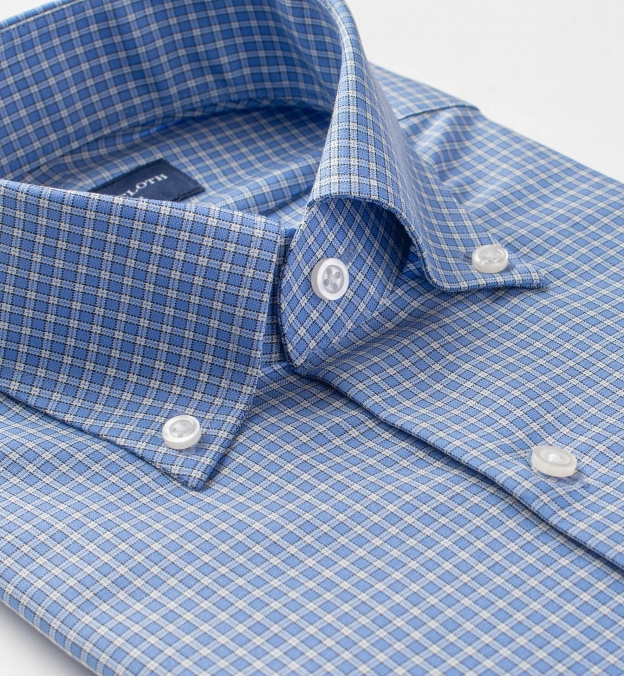 Reda Blue Small Check Merino Wool