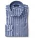 Thomas Mason Washed Slate Vintage Stripe Cotton Linen Oxford Shirt Thumbnail 1