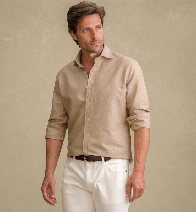 Portuguese Sand Cotton Linen Oxford