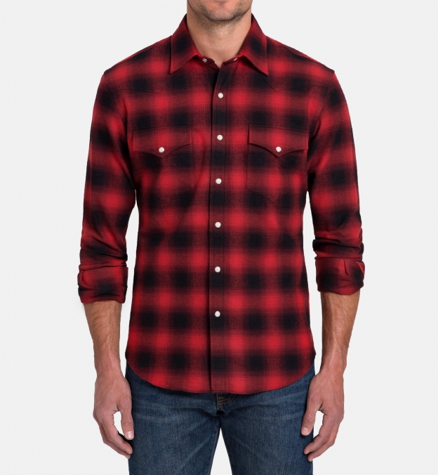 Scarlet and Black Ombre Plaid Flannel Western Shirt