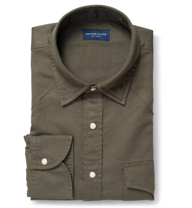 Albiate Washed Olive Cotton and Linen Denim
