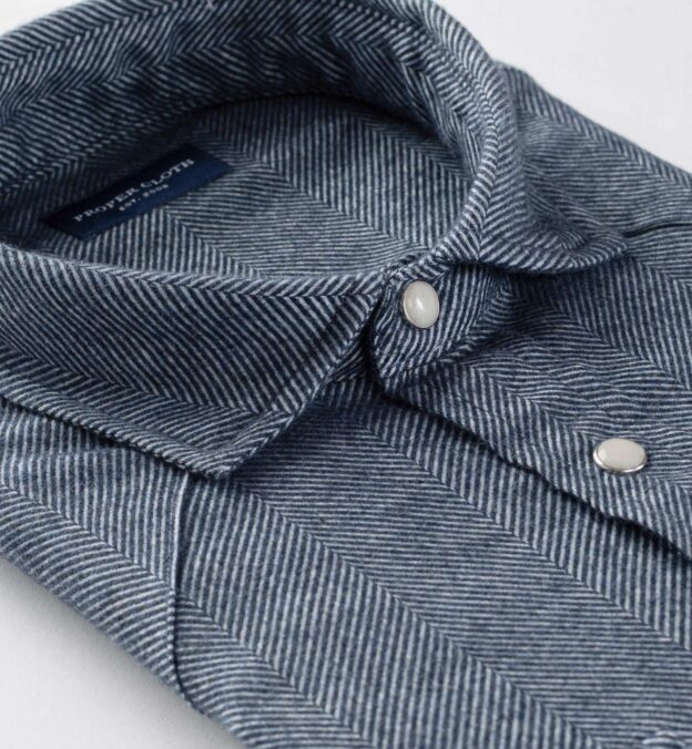 Canclini Blue Large Herringbone Beacon Flannel