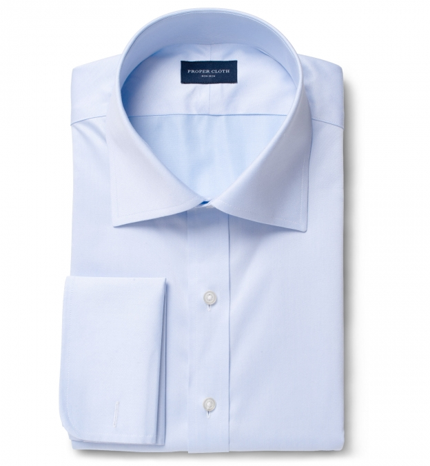 Non-Iron Supima Light Blue Twill Fitted Shirt
