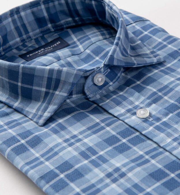 Blue Cotton and Linen Slub Plaid