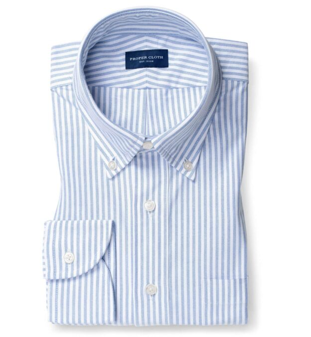 Blue University Stripe Heavy Oxford