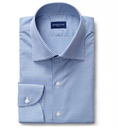 Thomas Mason Non-Iron Navy Gingham Custom Made Shirt