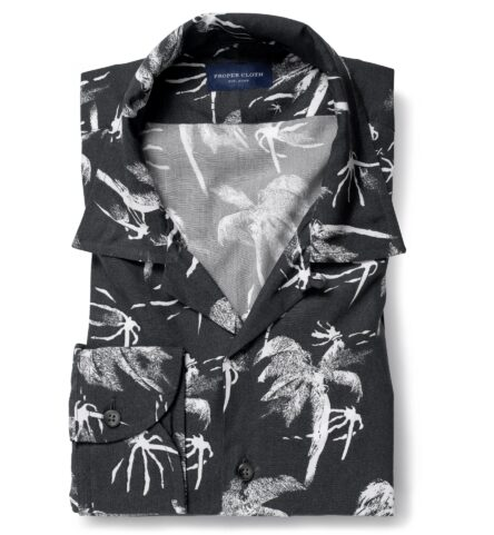 Albini Faded Black and White Palm Tree Print Tencel
