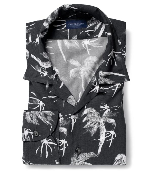 Albini Faded Black and White Palm Tree Print Tencel