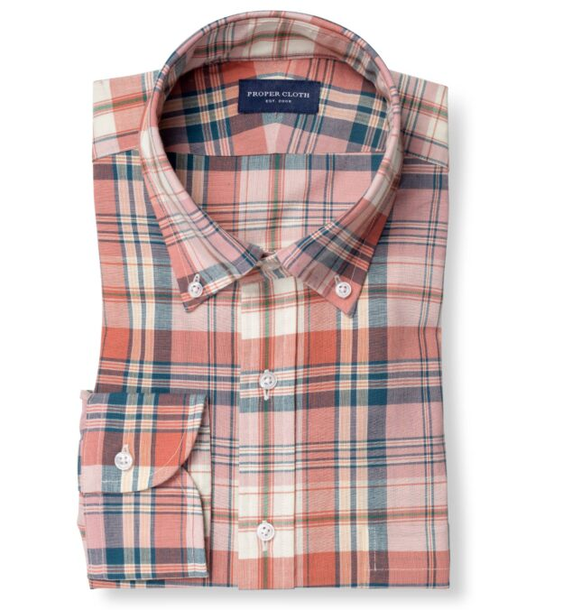 Coral and Navy Plaid Madras