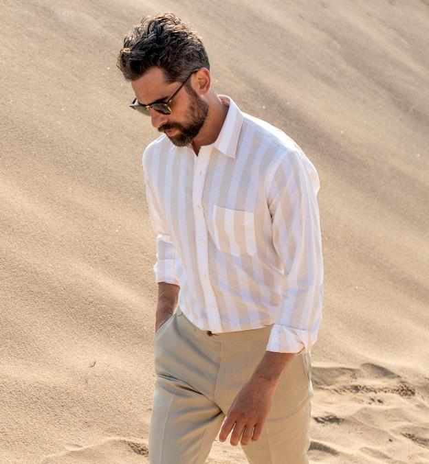 Portuguese Beige Extra Wide Stripe Cotton Linen Oxford