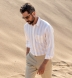 Portuguese Beige Extra Wide Stripe Cotton Linen Oxford Shirt Thumbnail 3