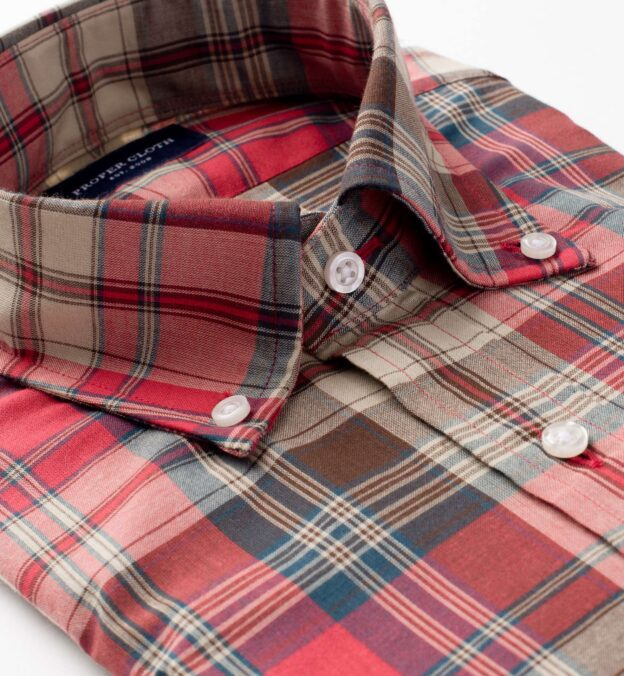 Red Ecru and Brown Madras