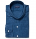 Washed Blue Japanese Slub Weave Shirt Thumbnail 1