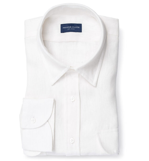 Albini Washed Natural White Linen Twill