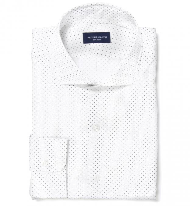 Navy on White Pindot Print Dress Shirt