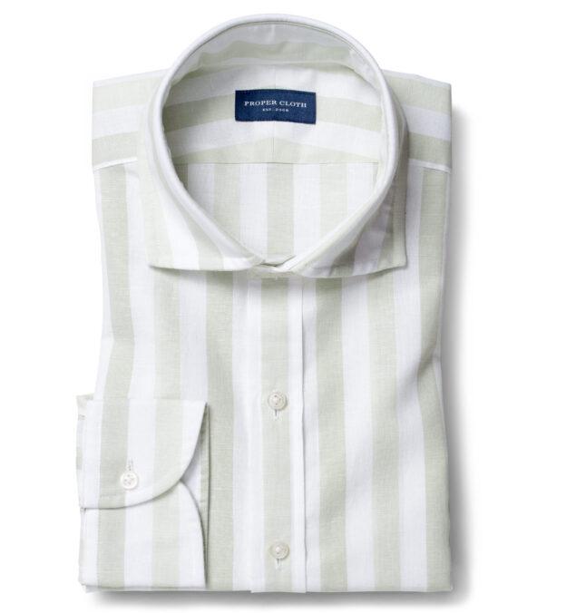 Portuguese Tonal Green Wide Stripe Cotton Linen Oxford