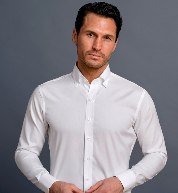 Weston White Pinpoint Button Down