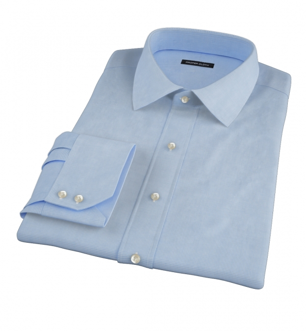 Canclini 140s Light Blue Micro Check Fitted Shirt